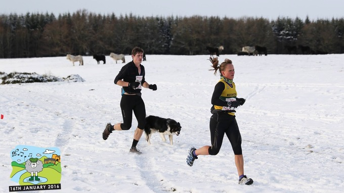 Two-legged and four-legged outdoor enthusiasts took part in the snowy run near Askham.