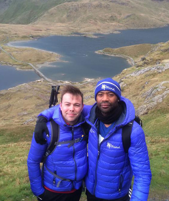 Ceri, with fellow trekker, Nicholas Pinnock in Snowdonia