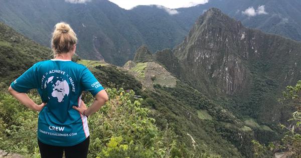 Sarah Fairhead, Charity Challenge Charity and Corporate Account Manager, at Machu Picchu in Peru