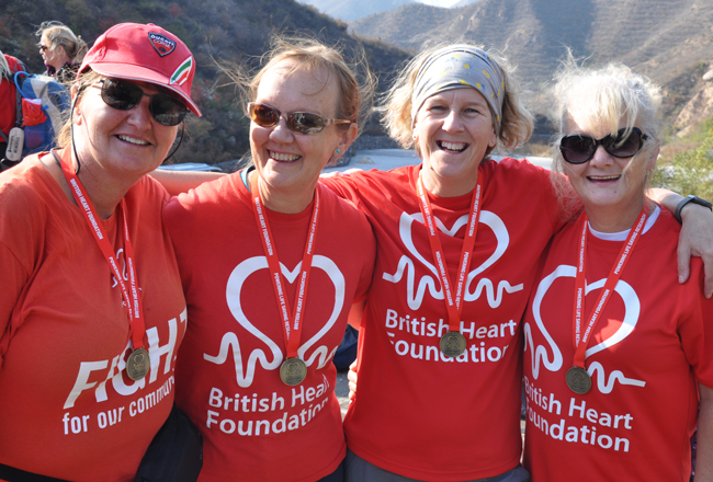 Ladies fundraising for the British Heart Foundation trekking the Great Wall of China