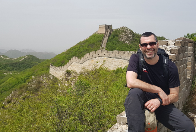 Charity Challenge founder, Simon Albert, on the Great Wall of China