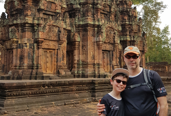Charity Challenge founder, Simon Albert, and his son on a challenge to Angkor Wat, Cambodia